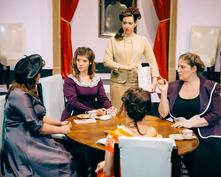Katharine Zagone as Sylvia, LDT as Mary Haynes, Ariana Gantzer as Peggy, Liz Bowman as Edith, Traci Sprague (foreground) as Nancy (Photo Credit: Eric Bjerke, Sr.)