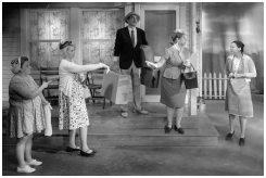 Claudia Linares as Mrs. Potts, Lara Dirks as Irma, Joel Morrison as Howard, LDT as Rosemary, Amanda Marjory Graham as Christine (Photo Credit: Eric Bjerke, Sr.)